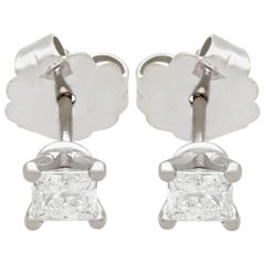 1.07 Carat Diamond and White Gold Stud Earrings