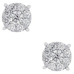 1.07 Carat Diamond Cluster Earrings