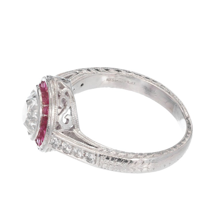 Ruby Engagement Rings For Sale: 1.07 Carat Diamond Ruby Halo Art Deco Platinum Engagement