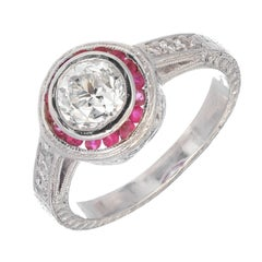 1.07 Carat Diamond Ruby Halo Art Deco Platinum Engagement Ring