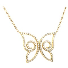 1.07 Carat Diamonds Butterfly Pendent Made in Italy