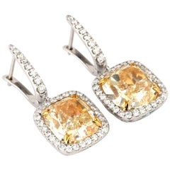 10.7 Carat Fancy Yellow Diamond Drop Earrings