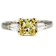 1.07 Carat GIA Certified Graff Yellow Diamond Platinum Engagement Ring