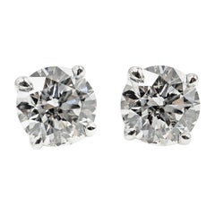 1.07 Carat GIA Certified Round Brilliant Cut Diamond Platinum Stud Earrings
