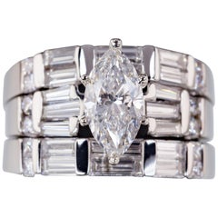 1.07 Carat Marquise Diamond Wedding Set in Platinum Three Rings