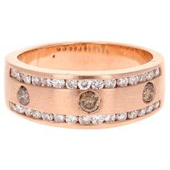 1.07 Carat Men's Champagne Diamond 14 Karat Rose Gold Wedding Band