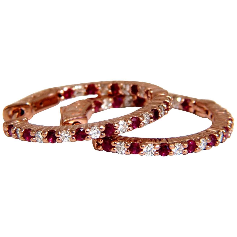 1.07 Carat Natural Vivid Red Ruby Diamond Hoop Earrings 14 Karat Rose Gold