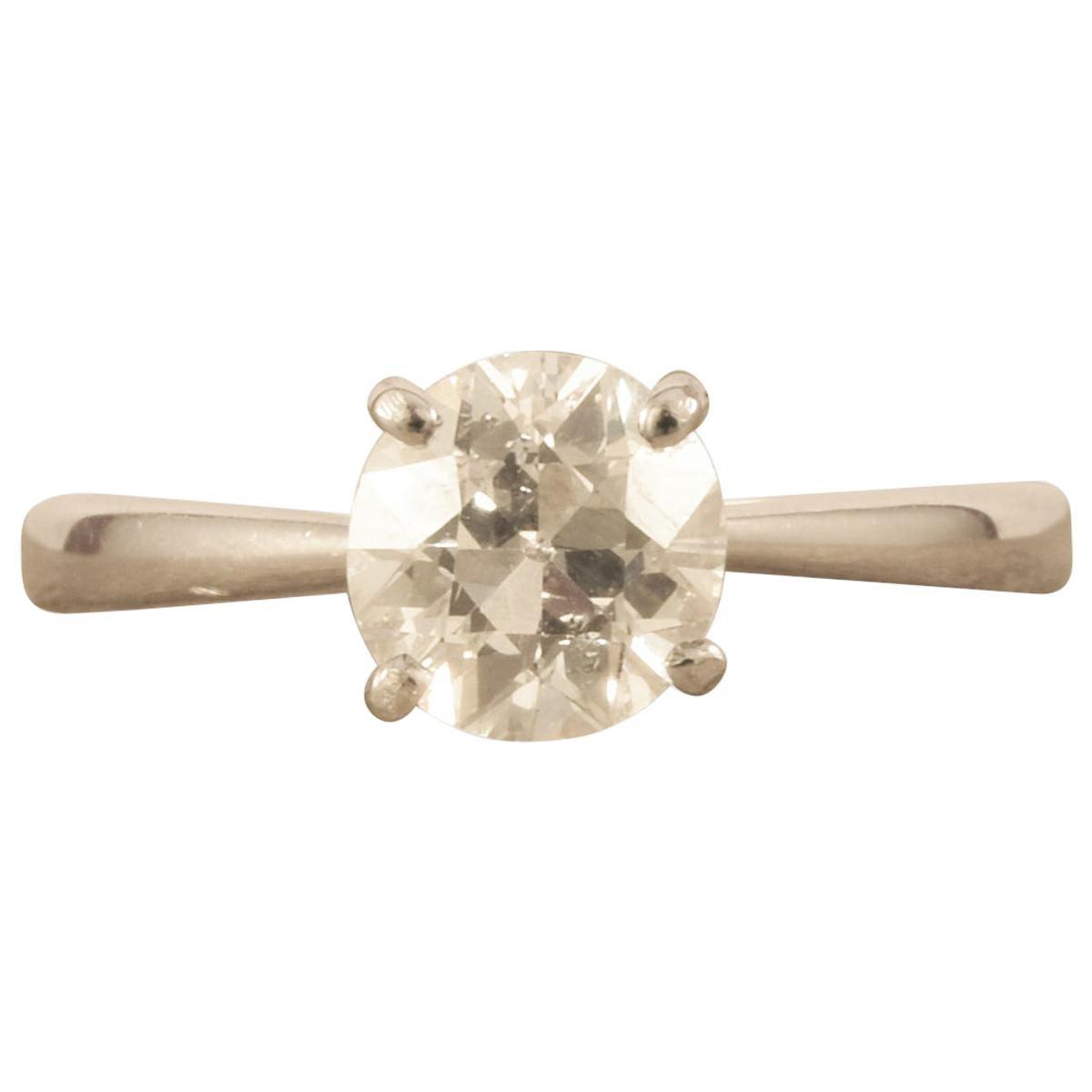 1.07 Carat Old European Cut Diamond Solitaire Ring in 18 Carat White Gold