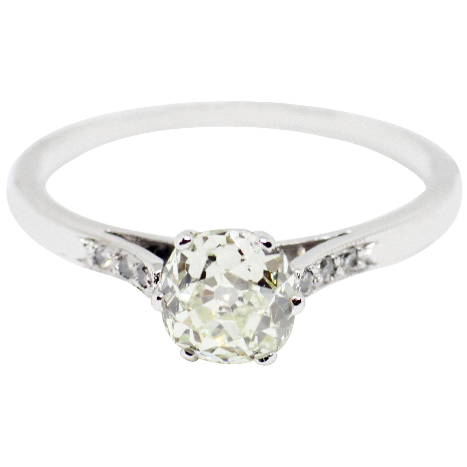 1.07 Carat Old Mine Cut Diamond Platinum Engagement Ring