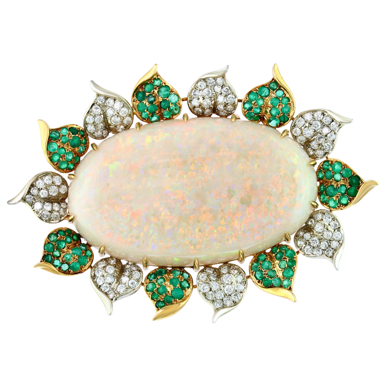107 Carat Oval Australian Opal, Diamond and Emerald Pendant /Pin/Broach 18K Gold