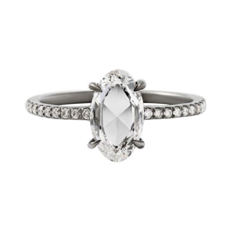 Eva Fehren 1.07 Carat Oval Rosecut Diamond Ring in 18 Karat Blackened White Gold For Sale