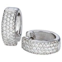 1.07 Carat Pave Set Diamond 18 Karat White Gold Huggie Hoop Earrings
