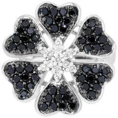 1.07 Carat Round Black Diamond and 0.18 Carat Diamond Flower Ring