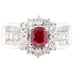 1.07 Carat Ruby and Diamond Cocktail Ring Set in Platinum