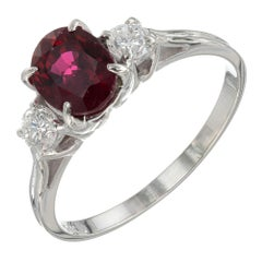 1.07 Carat Ruby Diamond White Gold Three-Stone Engagement Ring