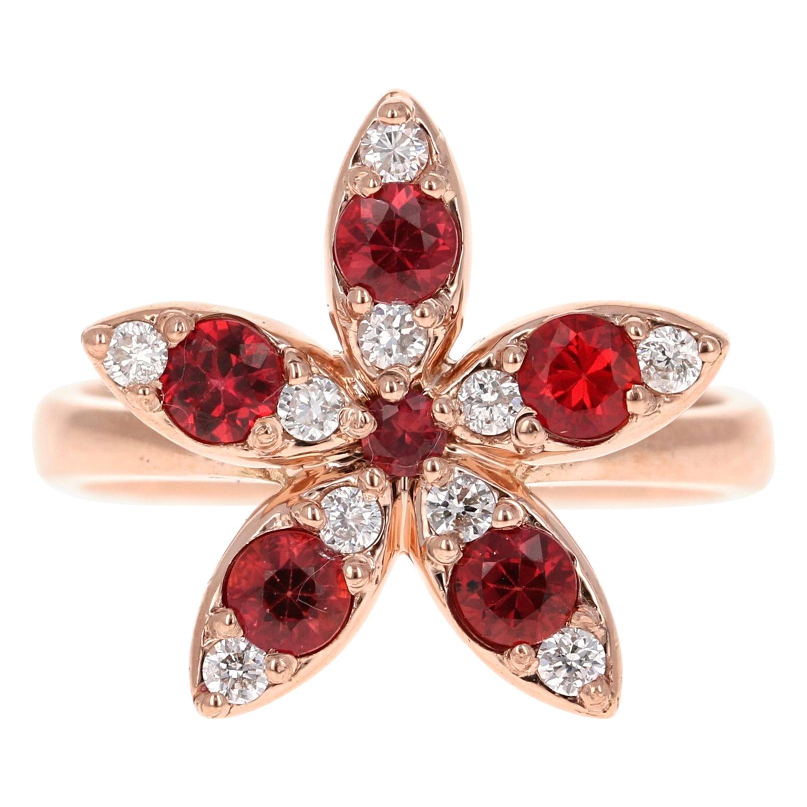 1.07 Carat Sapphire Diamond 14 Karat Rose Gold Cocktail Ring