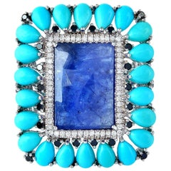 10.7 Carat Tanzanite Turquoise Diamond 18 Karat White Gold Ring