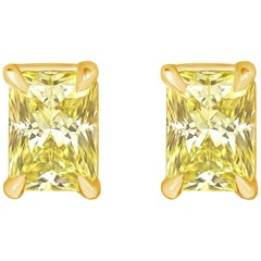 1.07 Carat Total Yellow Radiant Cut Diamond Stud Earrings