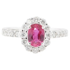 1.07 Carat Untreated Ruby and Diamond Halo Engagement Ring Set in Platinum