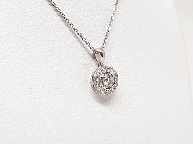 Contemporary 1.07 Carat White Gold Necklace Diamond Halo Solitaire Pendant For Sale