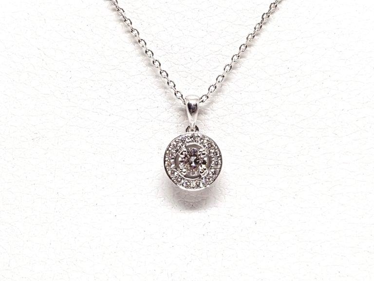 Round Cut 1.07 Carat White Gold Necklace Diamond Halo Solitaire Pendant For Sale
