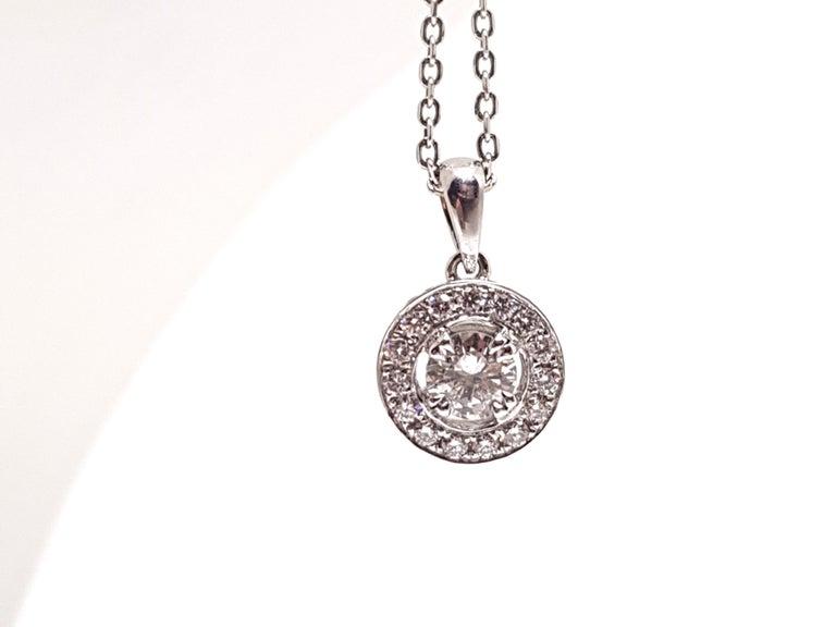 1.07 Carat White Gold Necklace Diamond Halo Solitaire Pendant For Sale 1