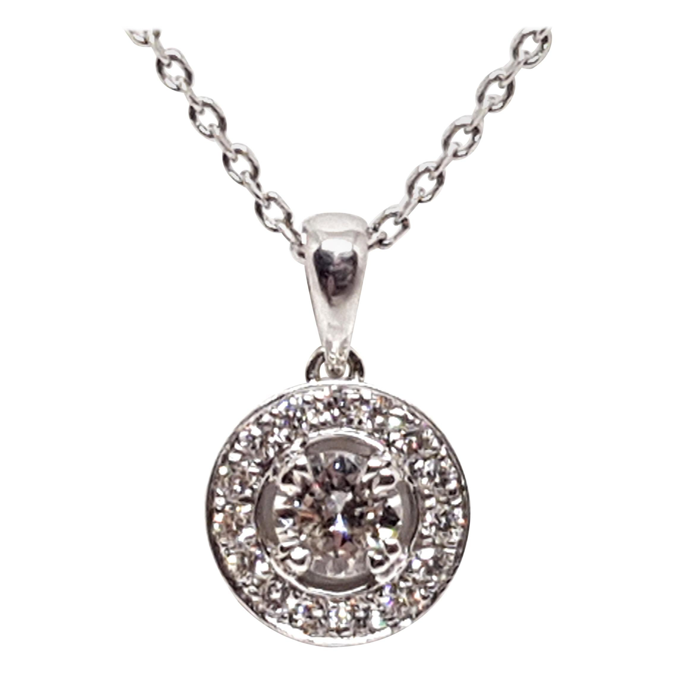 1.07 Carat White Gold Necklace Diamond Halo Solitaire Pendant
