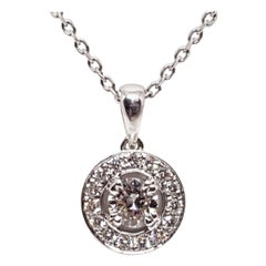 1.07 Carat White Gold Necklace Diamond Halo Solitaire Pendant