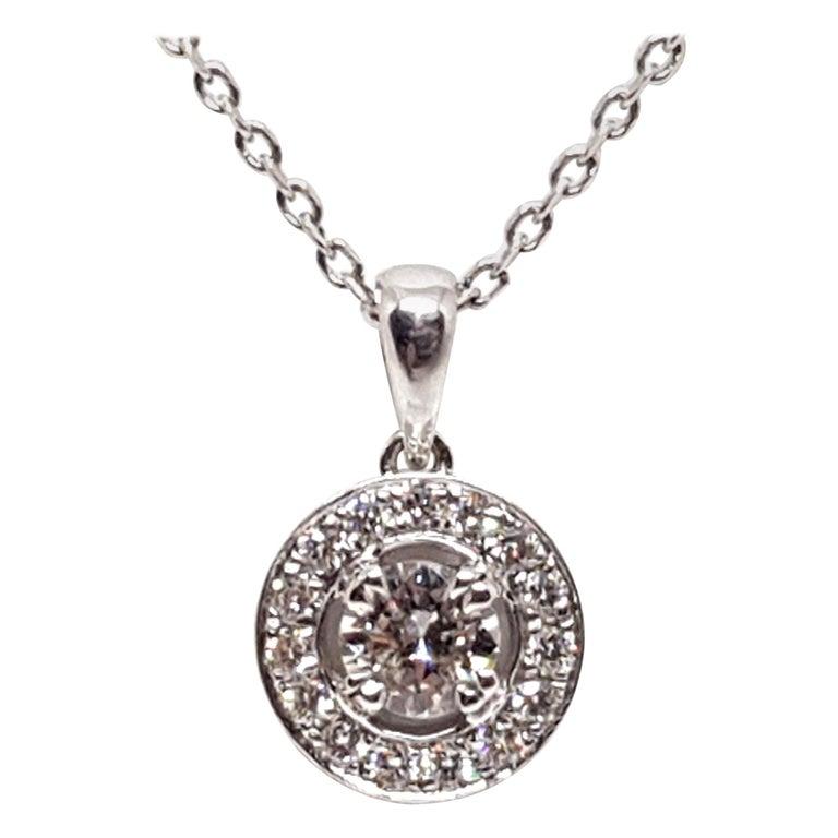 1.07 Carat White Gold Necklace Diamond Halo Solitaire Pendant For Sale