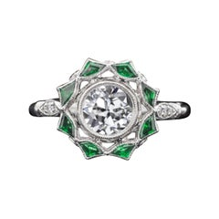 1.07 Ct Old European Cut Diamond F Si3 14kt White Gold Halo Emerald Ring Vintage
