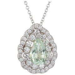 1.07 Ct Pear Shaped Paraiba Tourmaline and White Diamond Pendant 14 Karat Gold