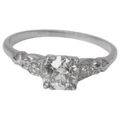 1.07 Old European Cut Diamond Set in an Edwardian Engagement Ring, Platinum