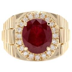 10.70 Carat Natural Diamond and Ruby 14 Karat Solid Yellow Gold Men's Ring