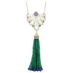107.07 Carat Emerald Tanzanite Tassel Diamond Necklace