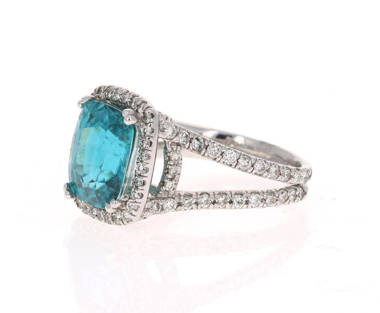 Modern 10.71 Carat Blue Zircon Diamond 14 Karat White Gold Ring For Sale
