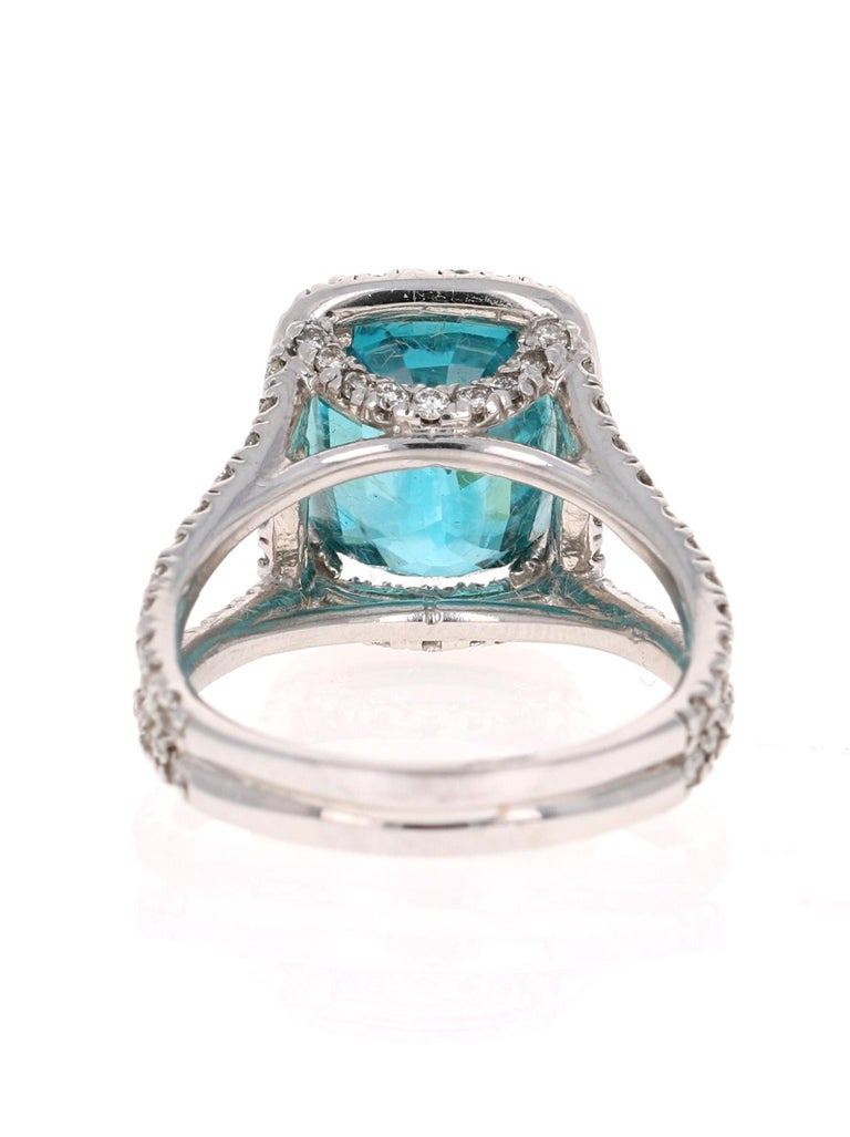 Cushion Cut 10.71 Carat Blue Zircon Diamond 14 Karat White Gold Ring For Sale