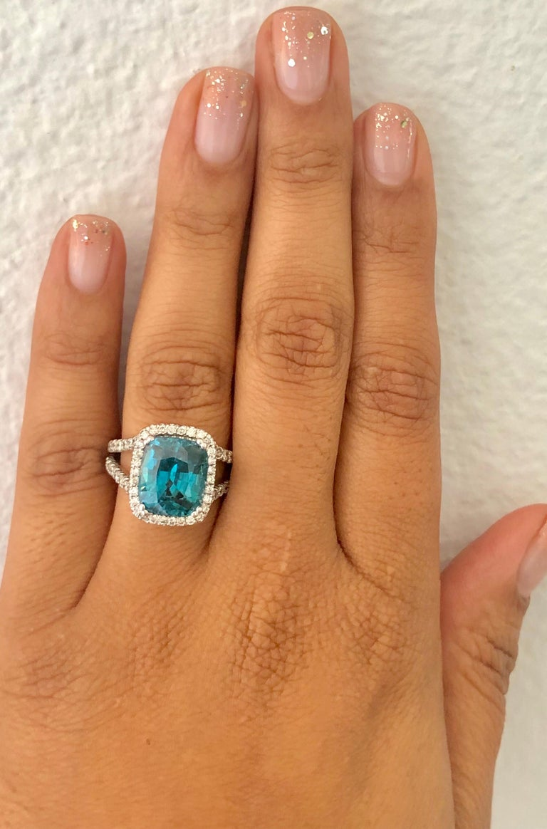 10.71 Carat Blue Zircon Diamond 14 Karat White Gold Ring In New Condition For Sale In Los Angeles, CA
