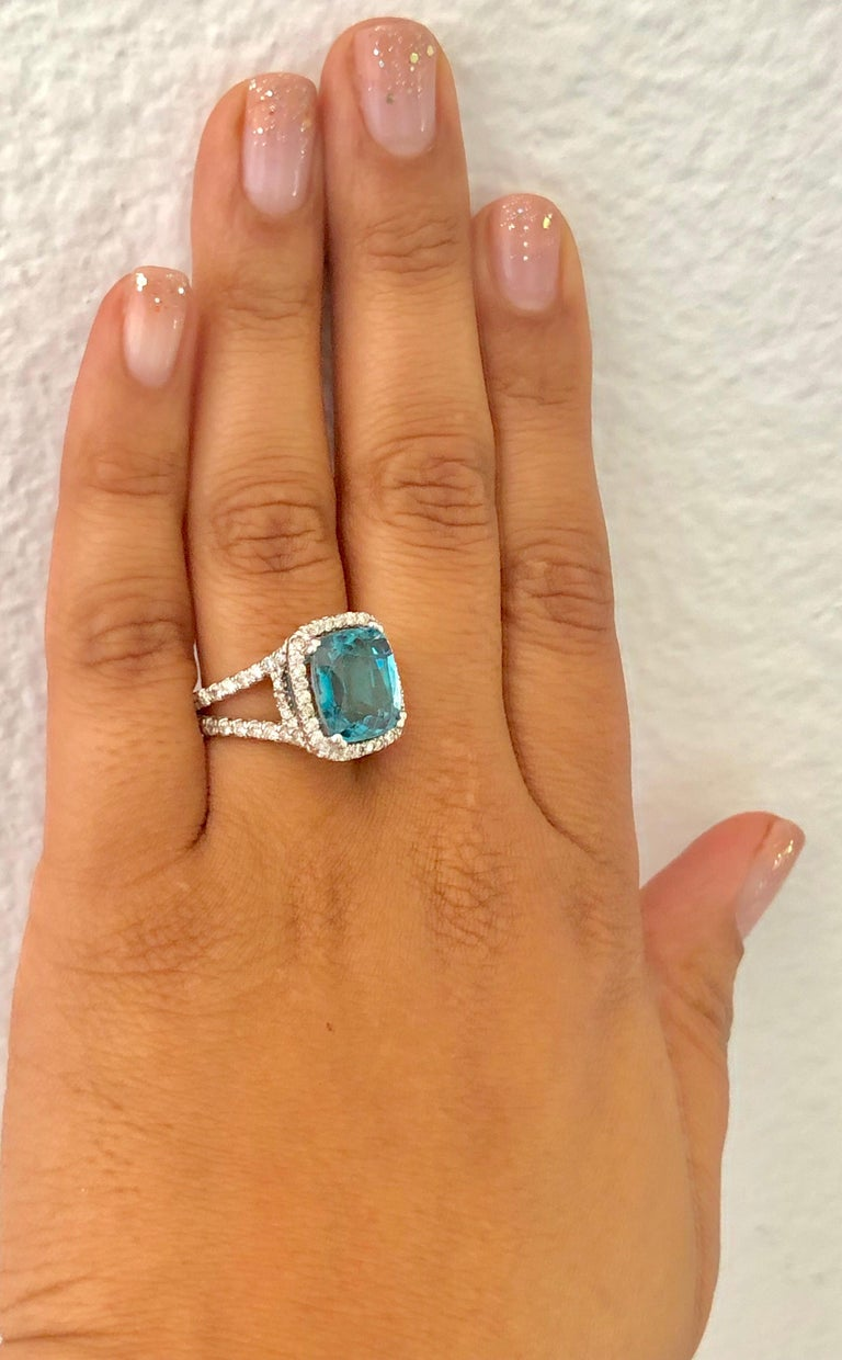 Women's 10.71 Carat Blue Zircon Diamond 14 Karat White Gold Ring For Sale
