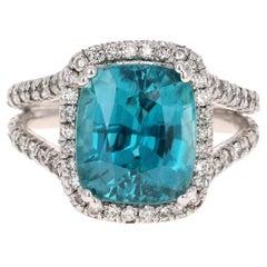 10.71 Carat Blue Zircon Diamond 14 Karat White Gold Ring