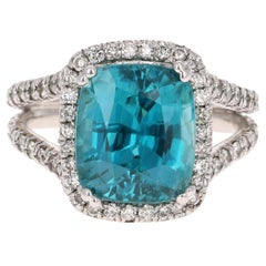 10.71 Carat Blue Zircon Diamond 14 Karat White Gold Ring