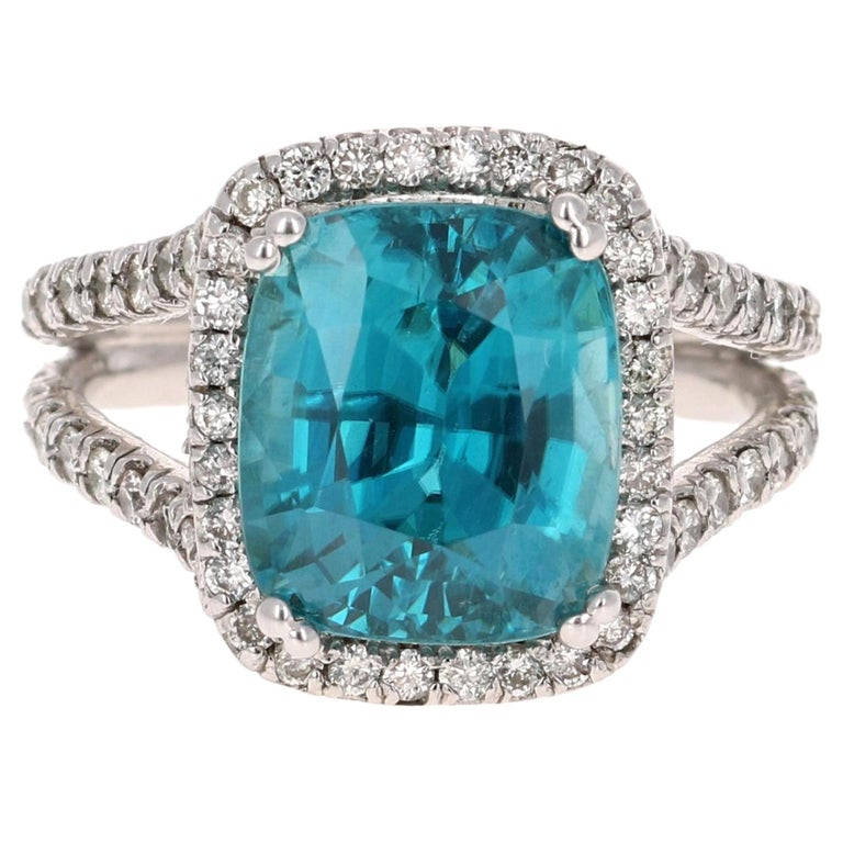 10.71 Carat Blue Zircon Diamond 14 Karat White Gold Ring For Sale