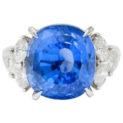 10.71 Carat No Heat Ceylon Sapphire Diamond Platinum Statement Ring GRS