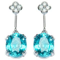 10.72 Carat Oval Intense Blue Zircon Diamond Drop Earrings Natalie Barney