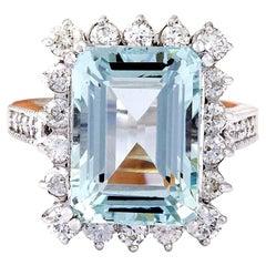 10.73 Carat Aquamarine 18 Karat Solid White Gold Diamond Ring