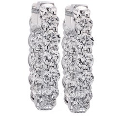Vivid Diamonds 10.73 Carat Diamond Hoop Earrings