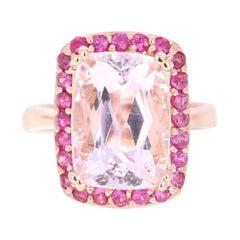 10.73 Carat Kunzite Pink Sapphire 14 Karat Rose Gold Bridal Ring