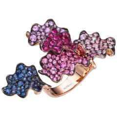 10.73 Carat Multi-Color Sapphire Ruby 18 Karat Rose Gold Cocktail Ring