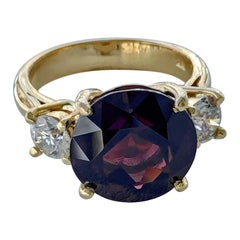 Estate Round Cut Natural Spinel & Diamond Engagement Ring 18K