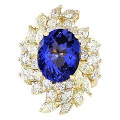10.73 Carat Tanzanite 18 Karat Yellow Gold Diamond Ring