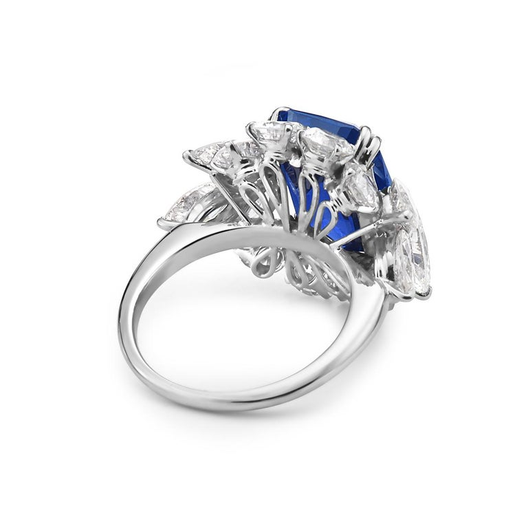 Women's 10.73 Carat Royal Blue Sapphire and Diamond Cocktail Ring For Sale